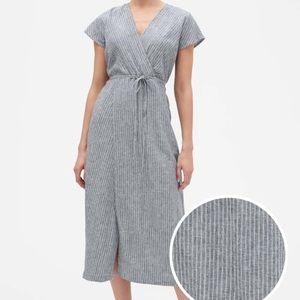 Banana Republic Striped Linen Blend Wrap Dress